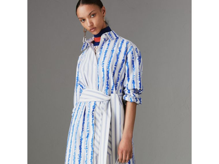 Scribble Stripe Silk Cotton Shirt Dress in Navy - Women | Burberry - cell image 4