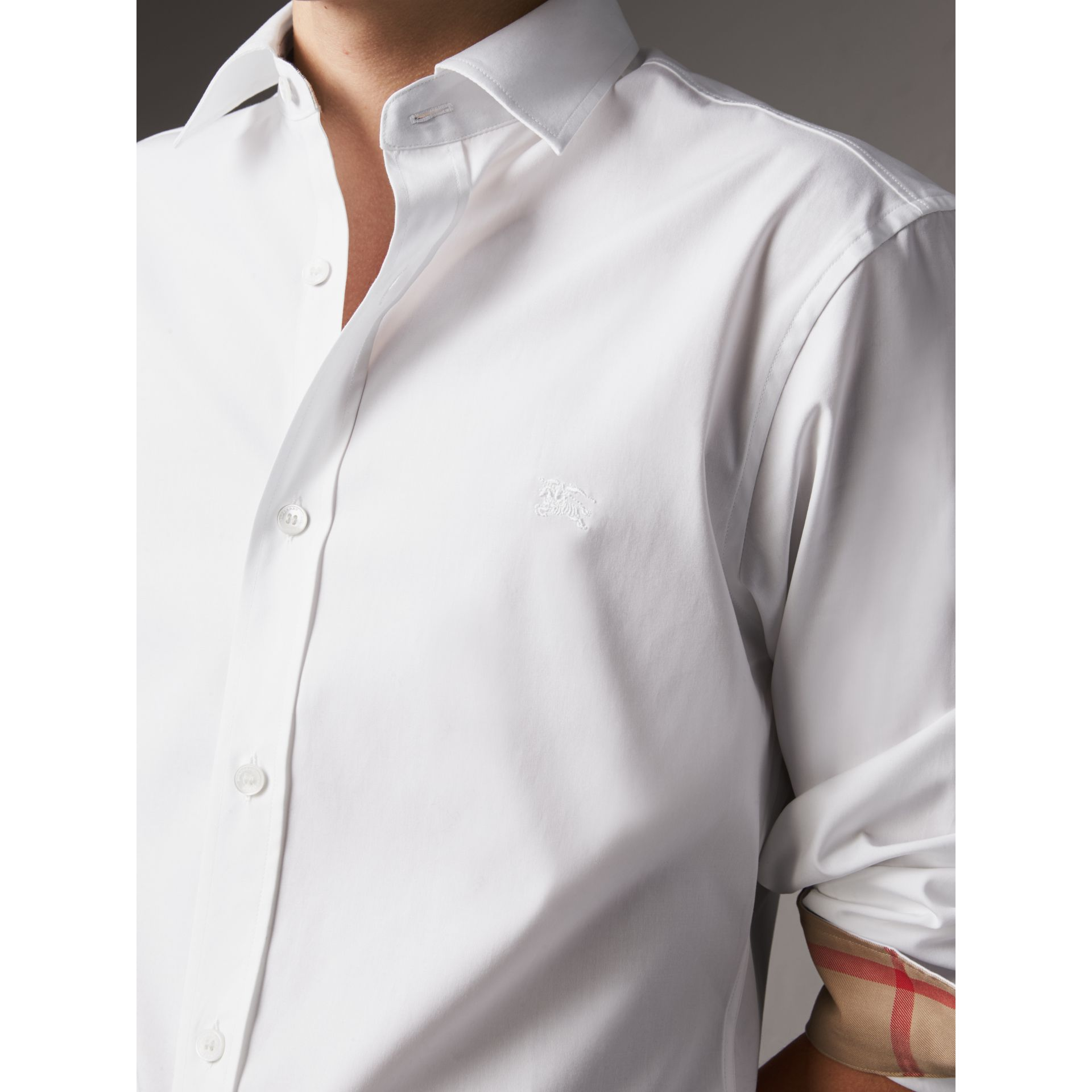 Stretch Cotton Poplin Shirt in White - Men | Burberry Australia - gallery image 2