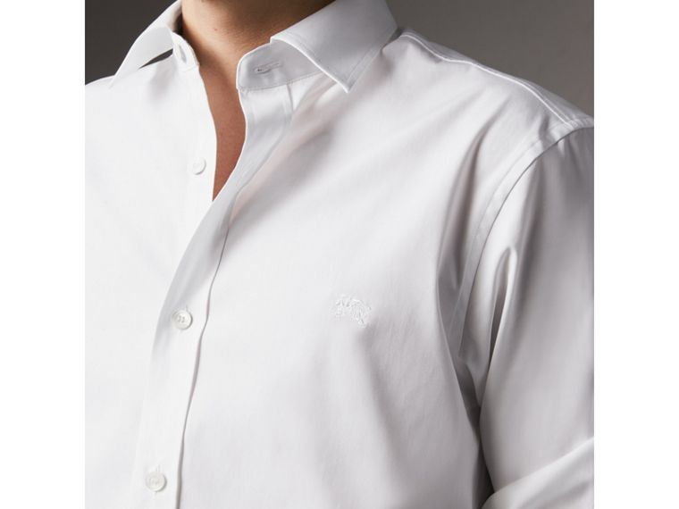 Stretch Cotton Poplin Shirt in White - Men | Burberry Australia - cell image 1