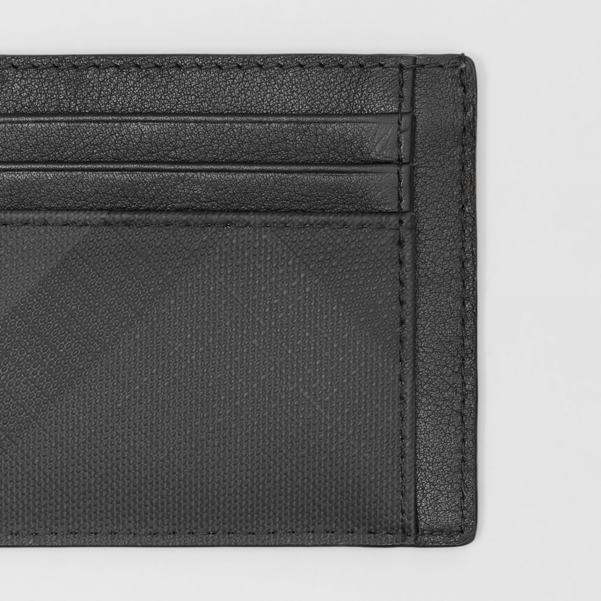 Porte-cartes London check et cuir (Anthracite Sombre) - Homme | Burberry Canada - photo de la galerie 1