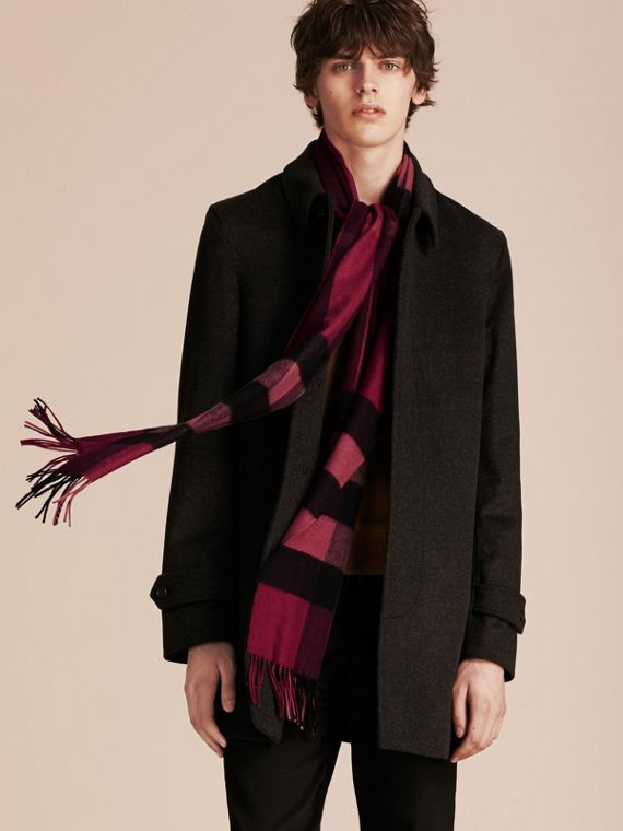 Plum check The Large Classic Cashmere Scarf in Check Plum - cell image 3
