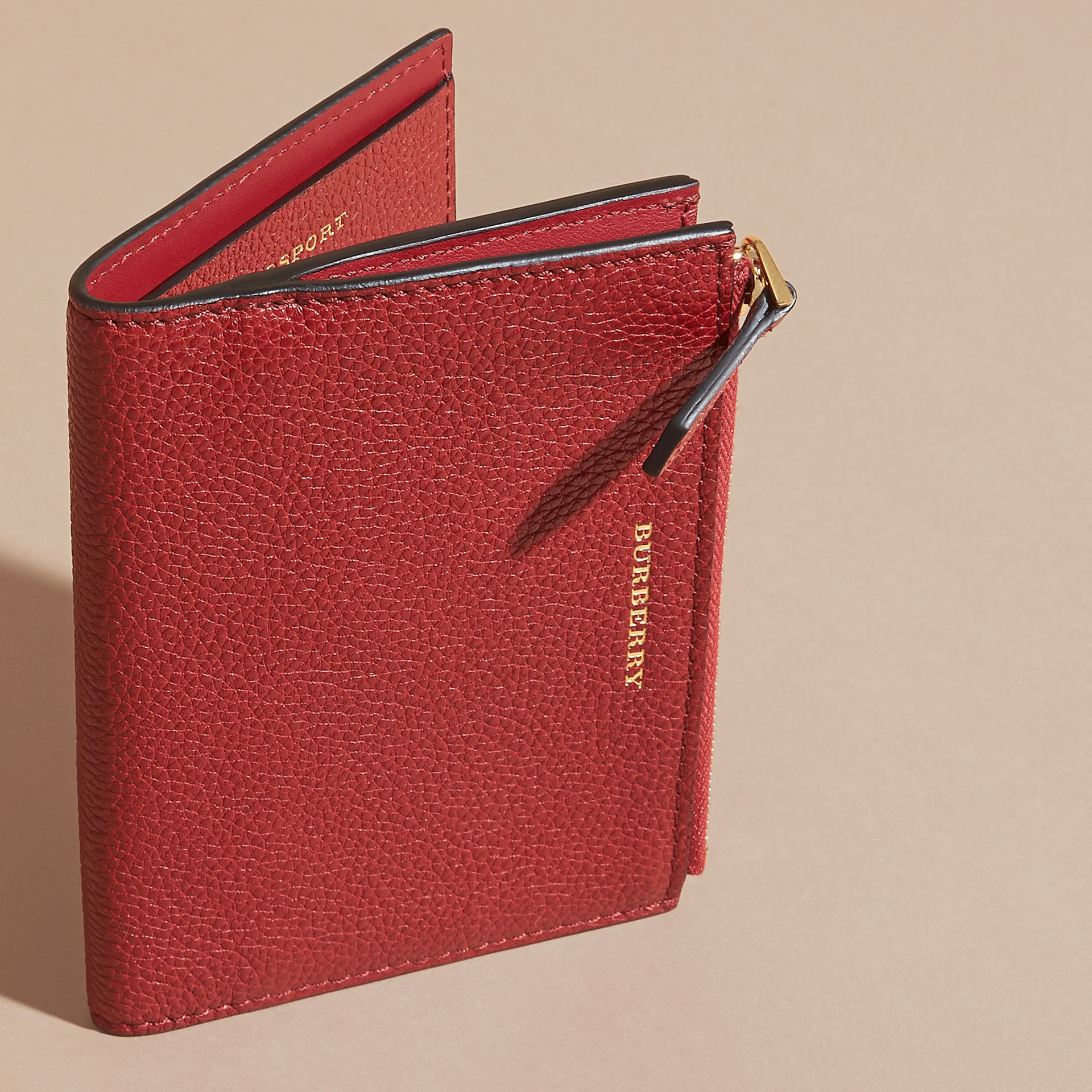 Leather Passport Wallet in Parade Red - gallery image 3