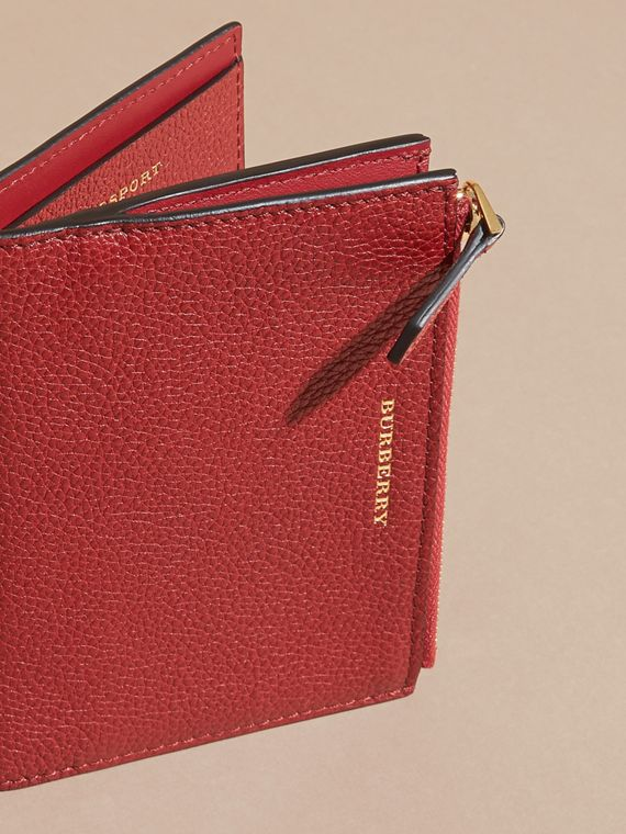 Leather Passport Wallet in Parade Red - cell image 2