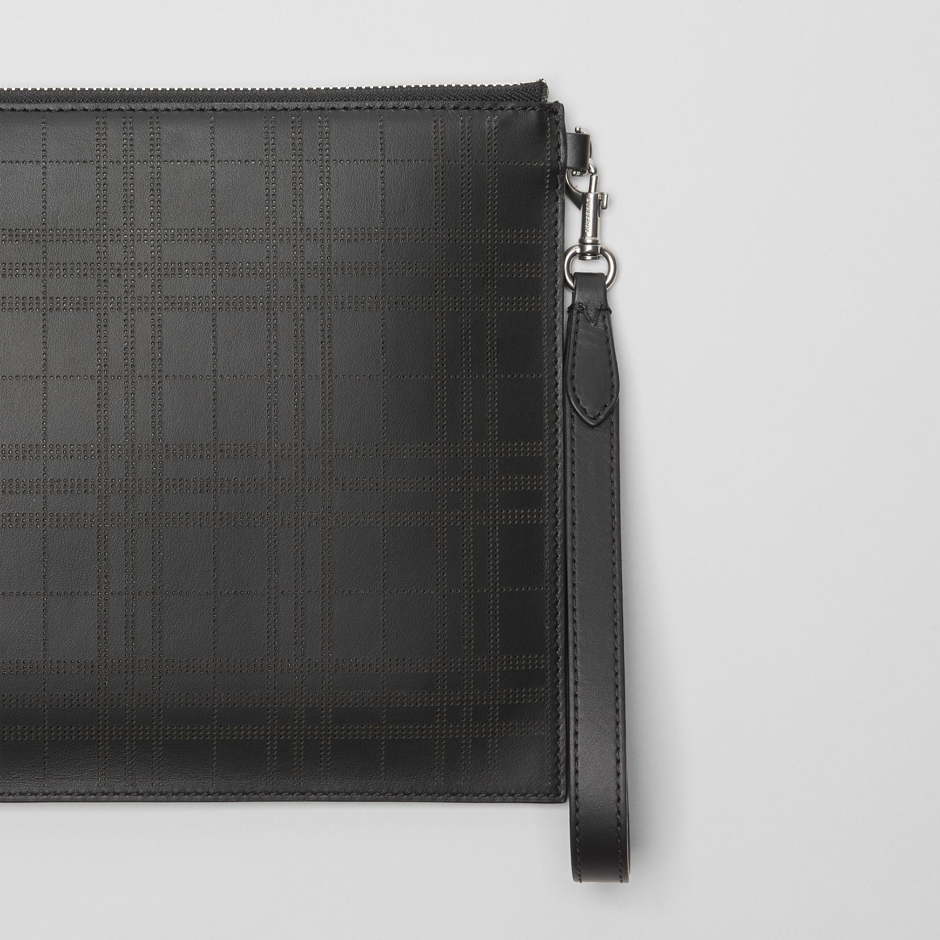 Perforated Check Leather Zip Pouch in Black - Men | Burberry - gallery image 1