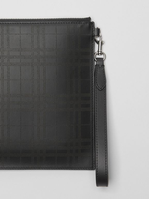 Perforated Check Leather Zip Pouch in Black - Men | Burberry - cell image 1
