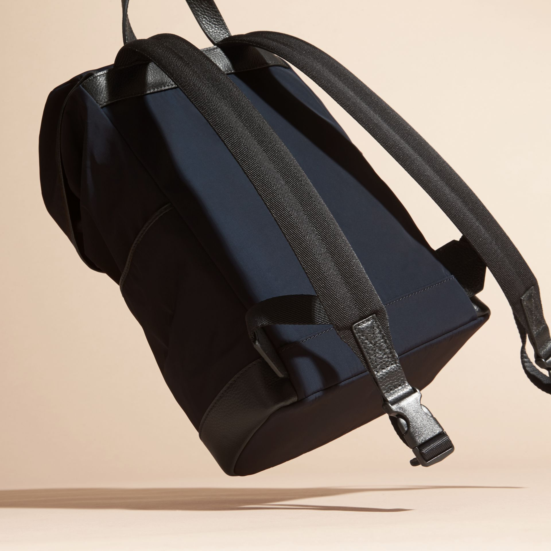 Leather Trim Lightweight Backpack in Ink | Burberry - gallery image 4