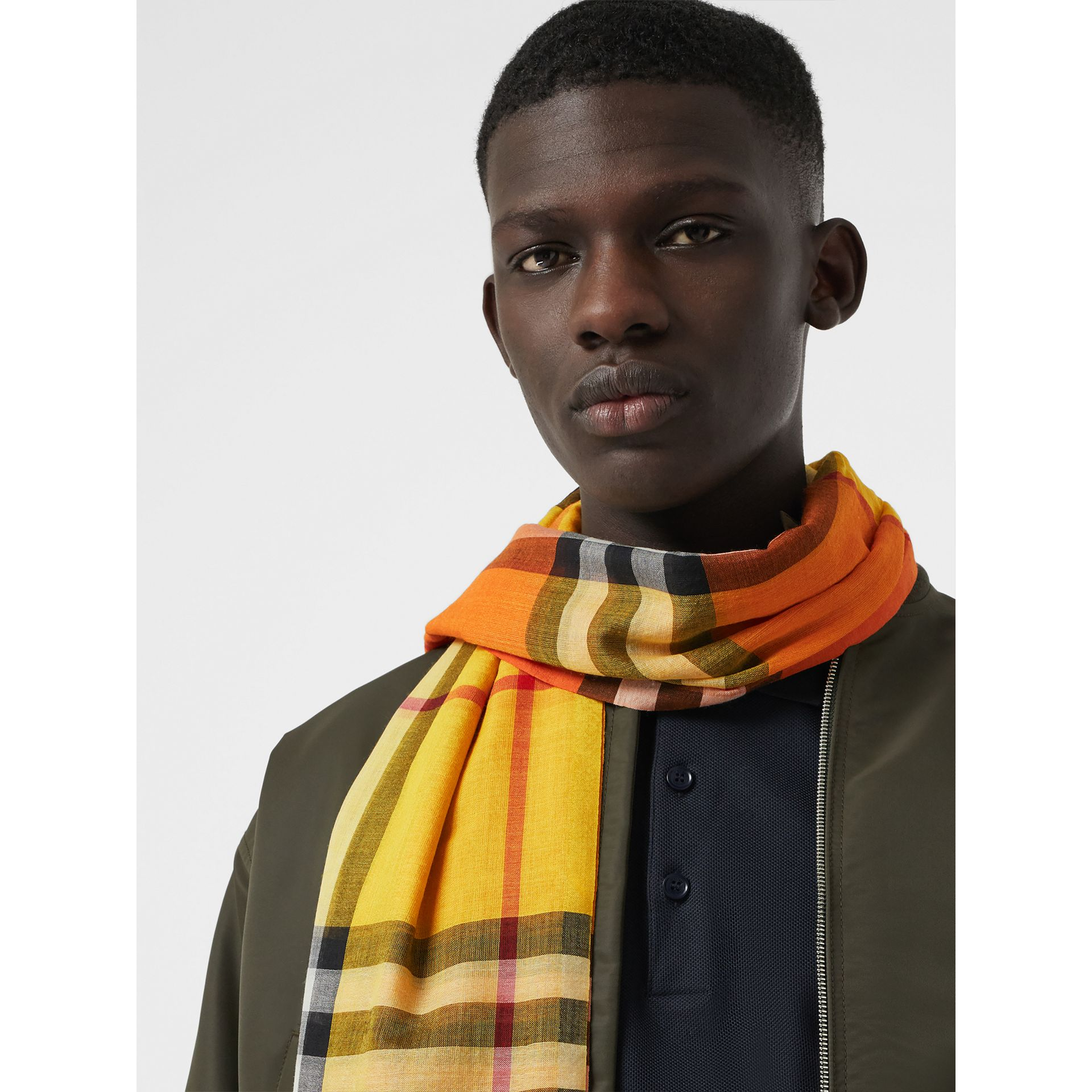 Colour Block Check Wool Silk Scarf in Amber Yellow | Burberry - gallery image 6