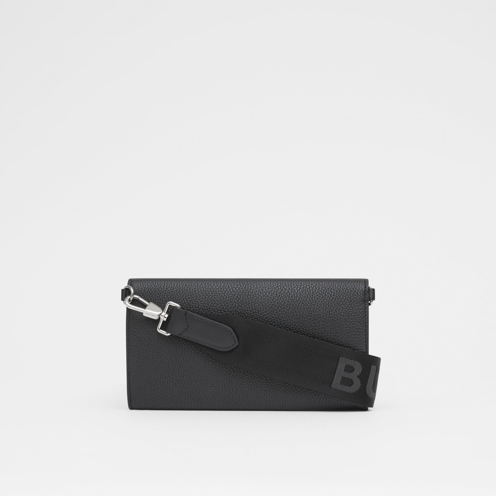 Grainy Leather Wallet with Detachable Strap in Black | Burberry United States - gallery image 9