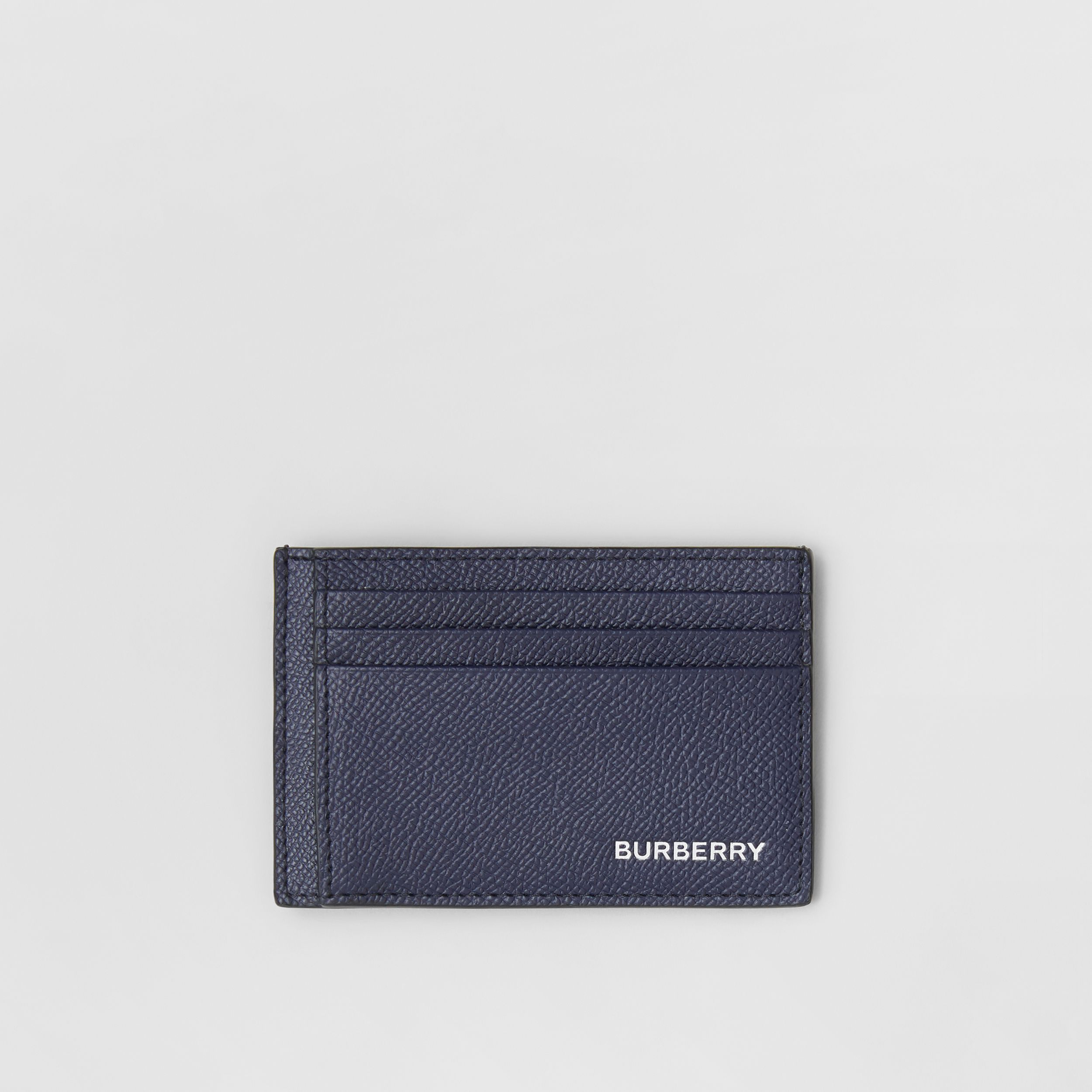 Grainy Leather Money Clip Card Case in Regency Blue - Men | Burberry - 1