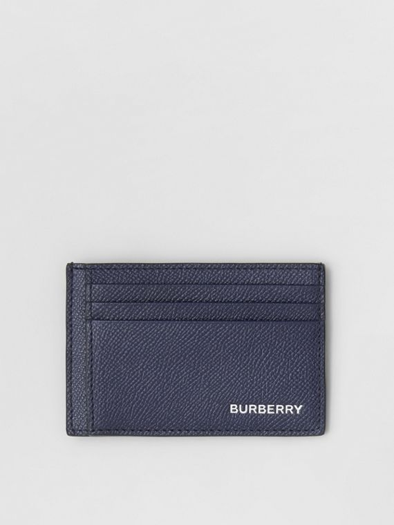 Grainy Leather Money Clip Card Case in Regency Blue