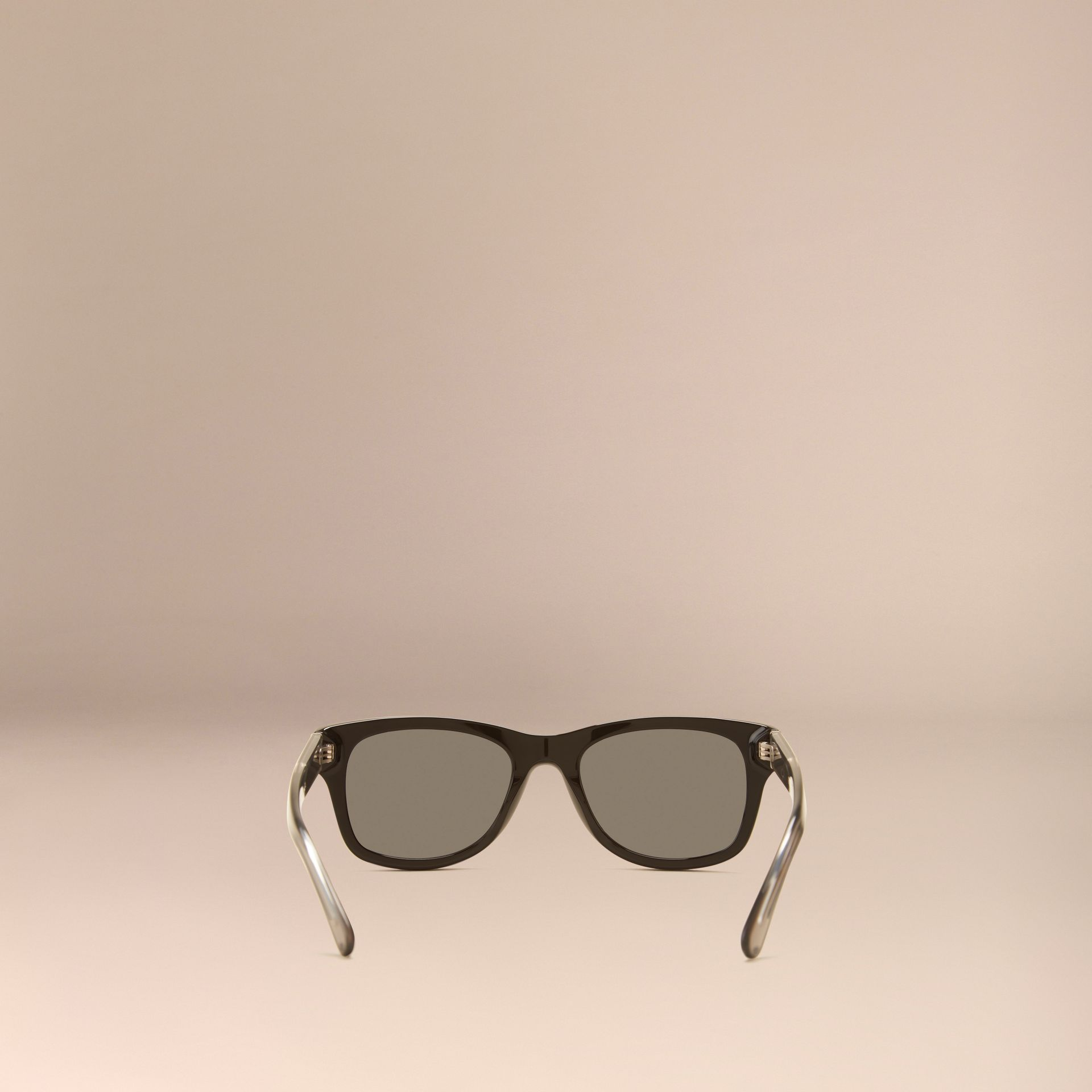 Black Check Detail Square Frame Sunglasses Black - gallery image 3