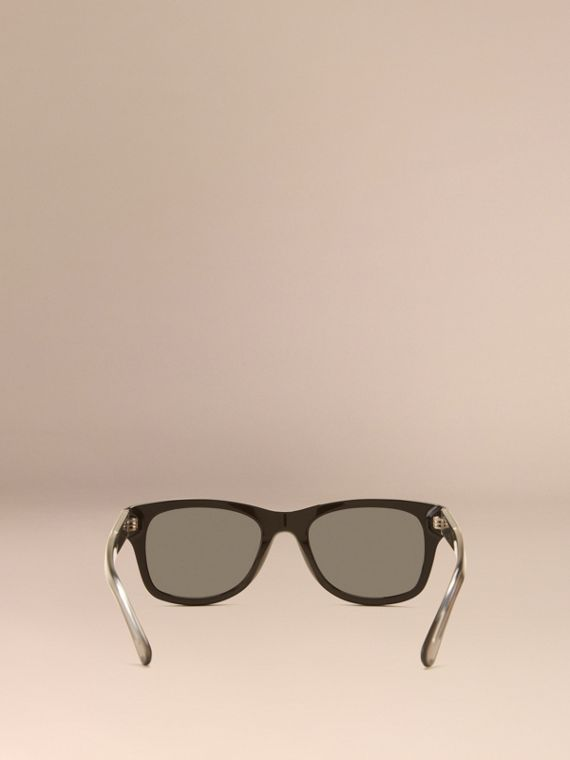 Black Check Detail Square Frame Sunglasses Black - cell image 2