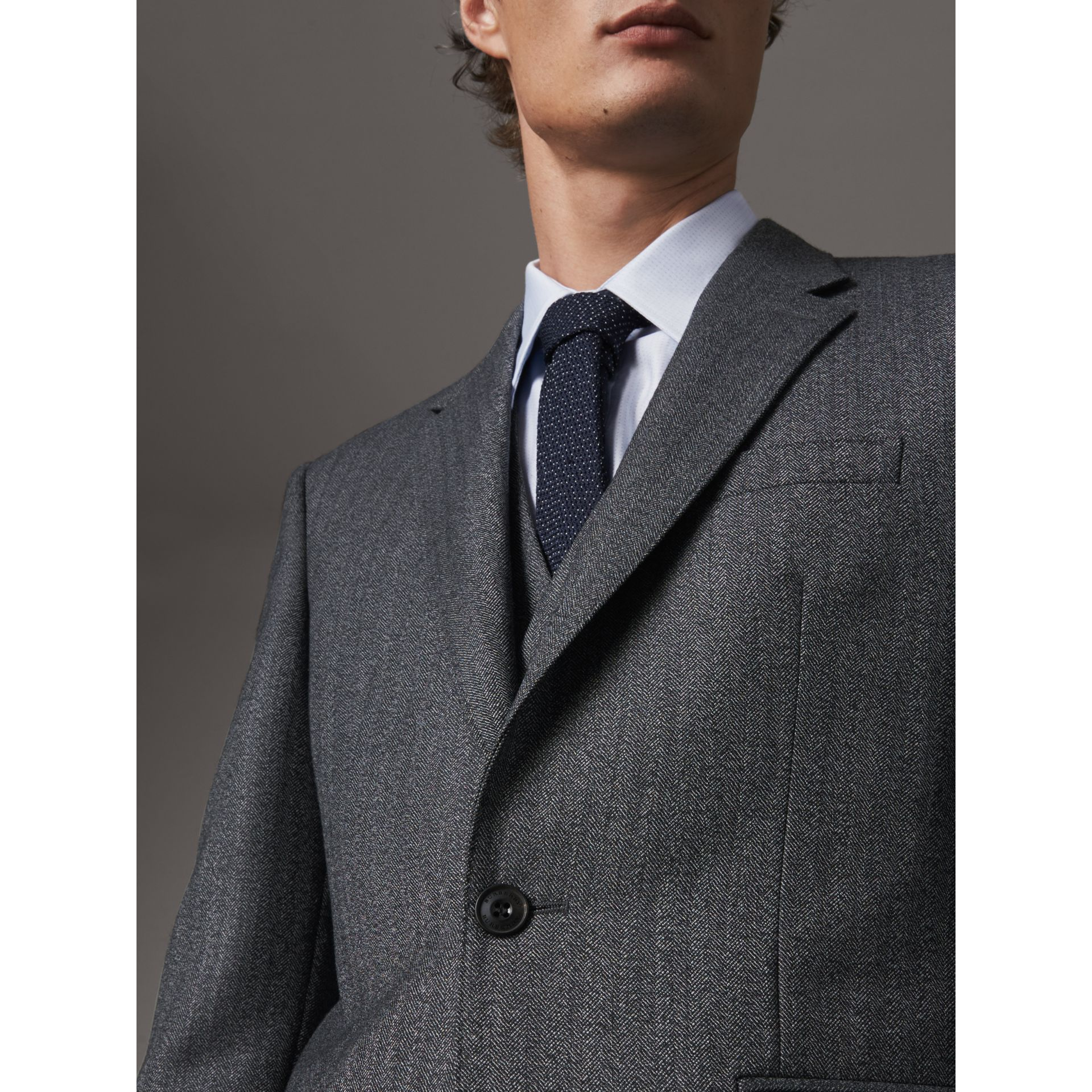 Modern Fit Wool Part-canvas Three-piece Suit in Charcoal - Men | Burberry - gallery image 4