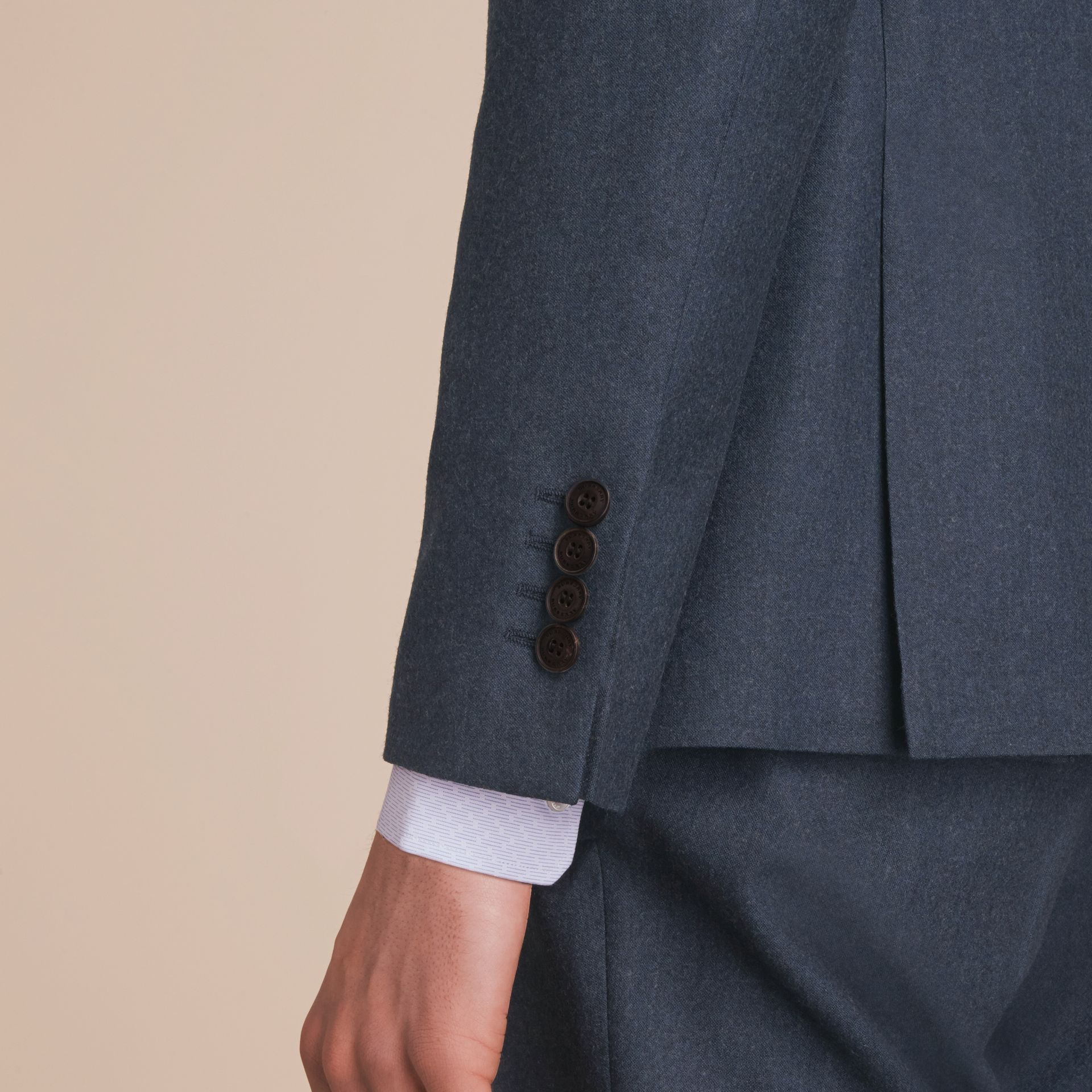 Soho Fit Wool Flannel Suit in Petrol Blue Melange - Men | Burberry - gallery image 6
