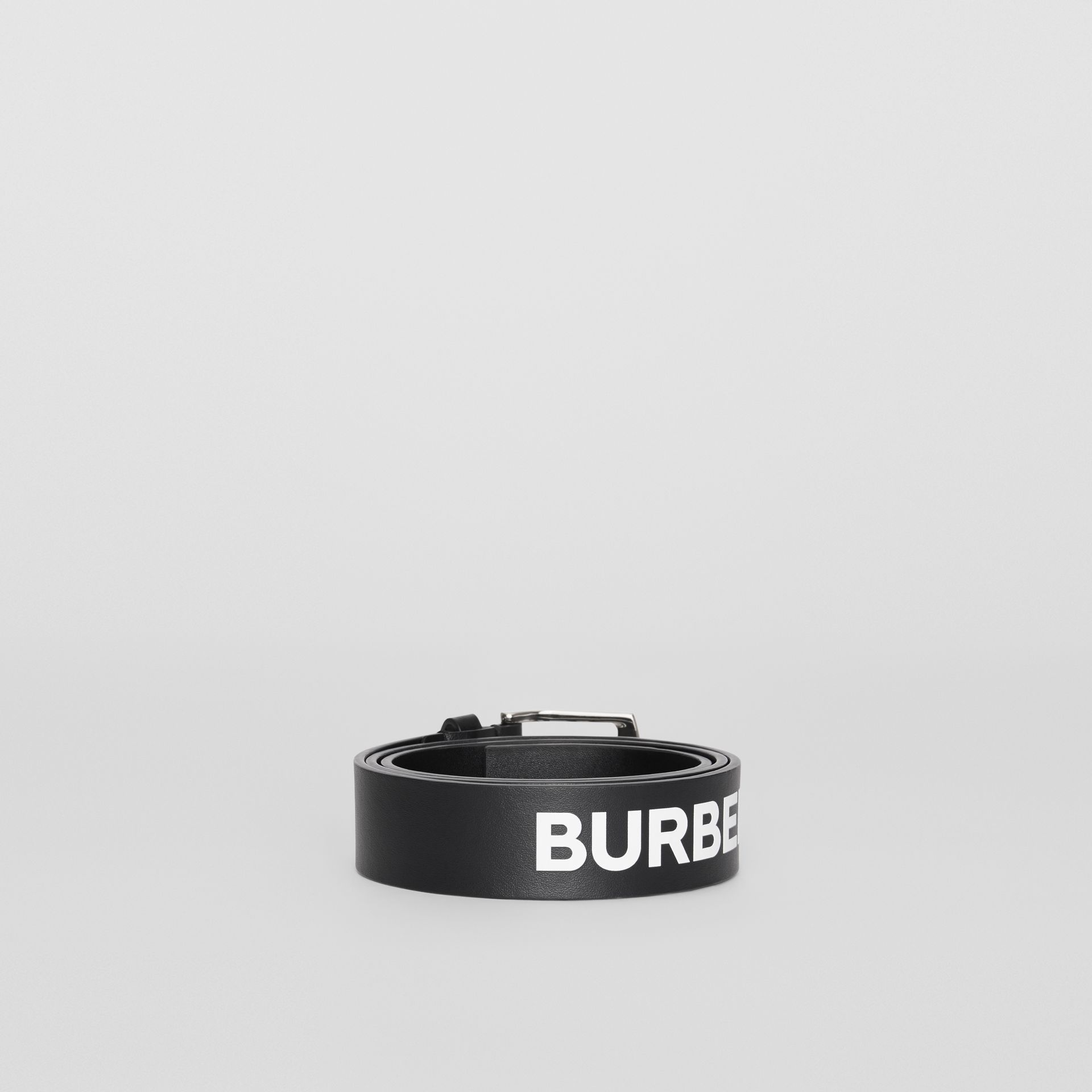 Kingdom Print Leather Belt in Black - Men | Burberry - gallery image 3