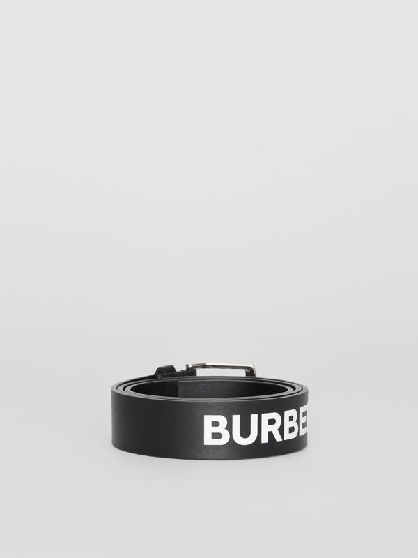 Kingdom Print Leather Belt in Black - Men | Burberry United Kingdom - cell image 3