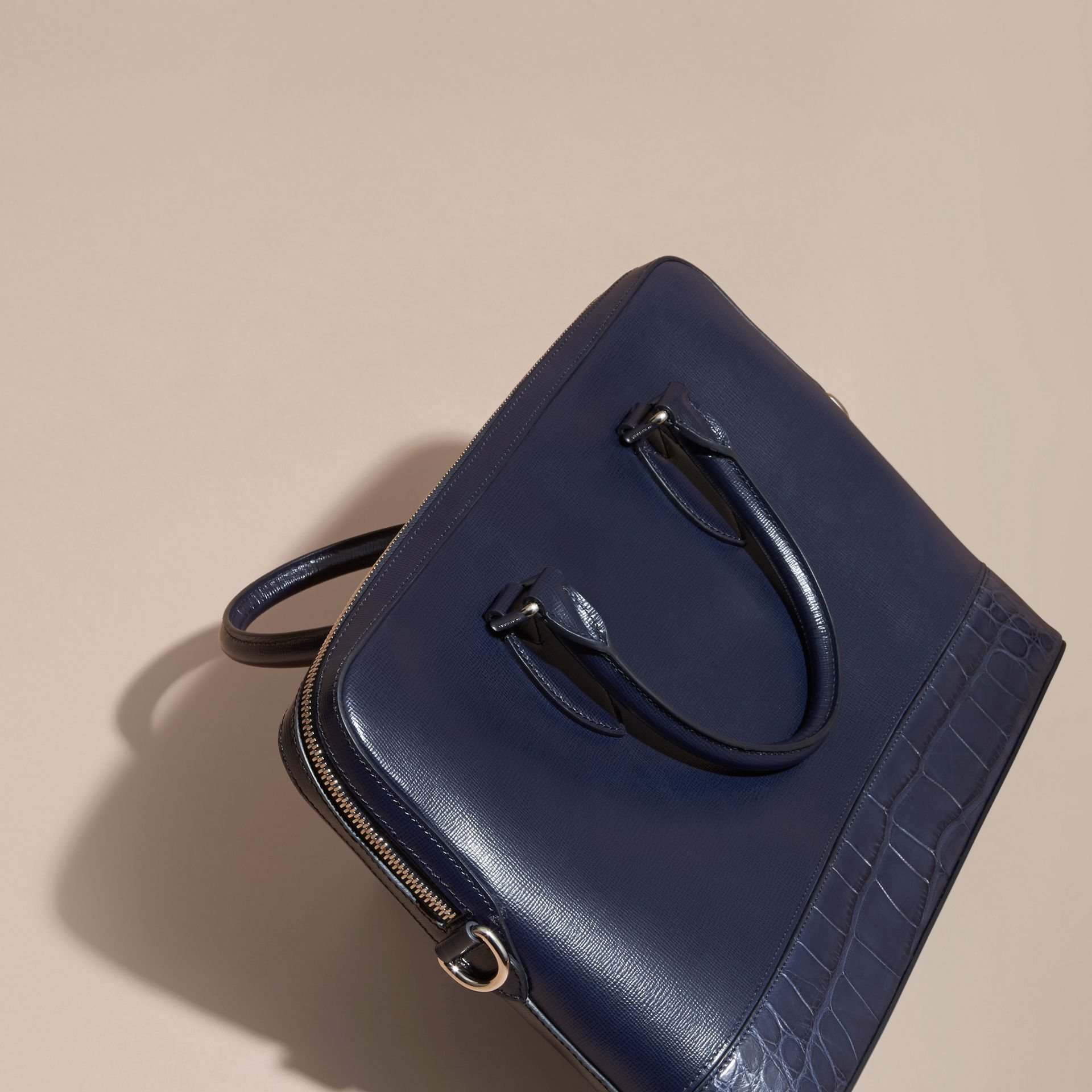 Dark navy The Slim Barrow in London Leather and Alligator Dark Navy - gallery image 2