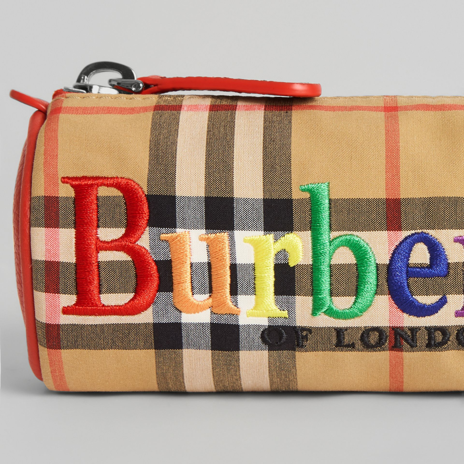Embroidered Archive Logo Vintage Check Pencil Case in Antique Yellow | Burberry Singapore - gallery image 1