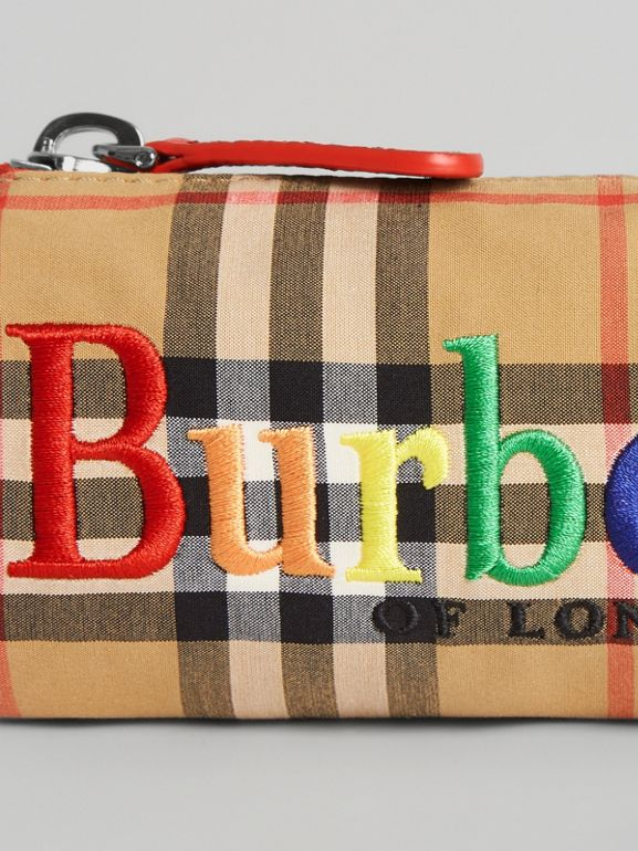 Embroidered Archive Logo Vintage Check Pencil Case in Antique Yellow | Burberry - cell image 1