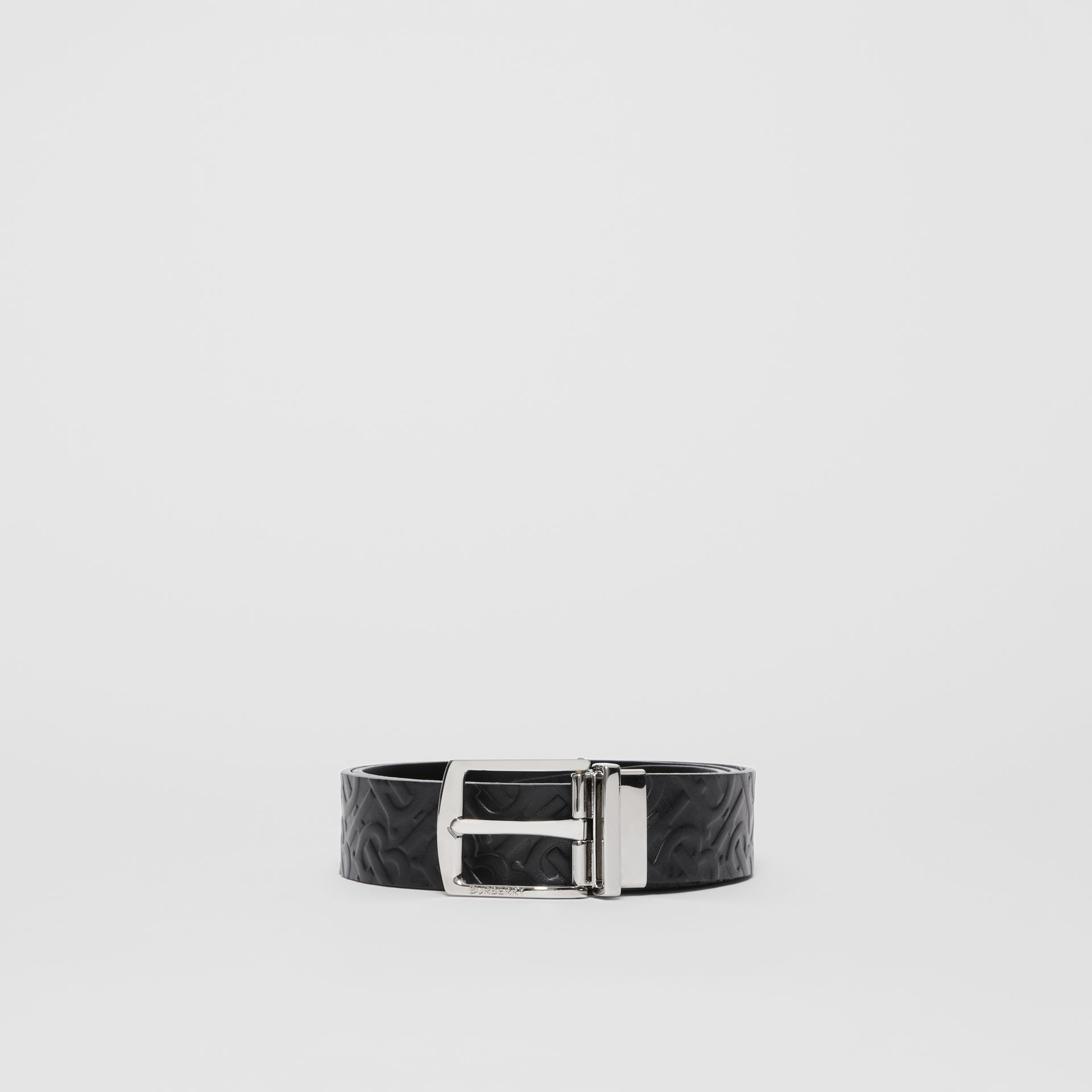 Reversible Monogram Leather Belt in Black - Men | Burberry - gallery image 3