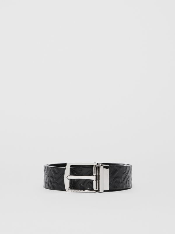 Reversible Monogram Leather Belt in Black - Men | Burberry United Kingdom - cell image 3