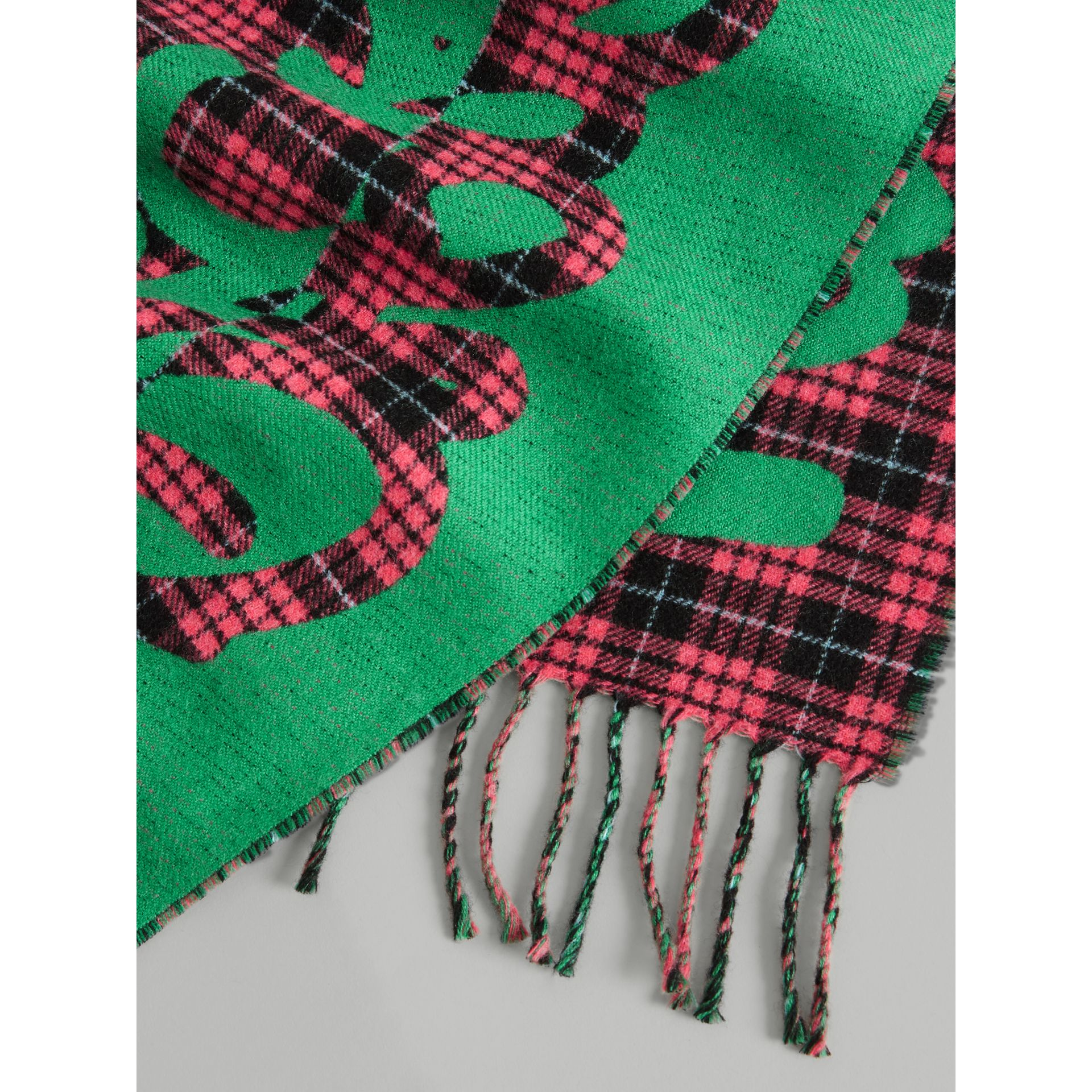 Graffiti and Tartan Wool Jacquard Scarf in Pomegranate | Burberry Australia - gallery image 1