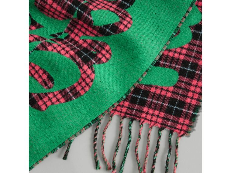Graffiti and Tartan Wool Jacquard Scarf in Pomegranate | Burberry - cell image 1