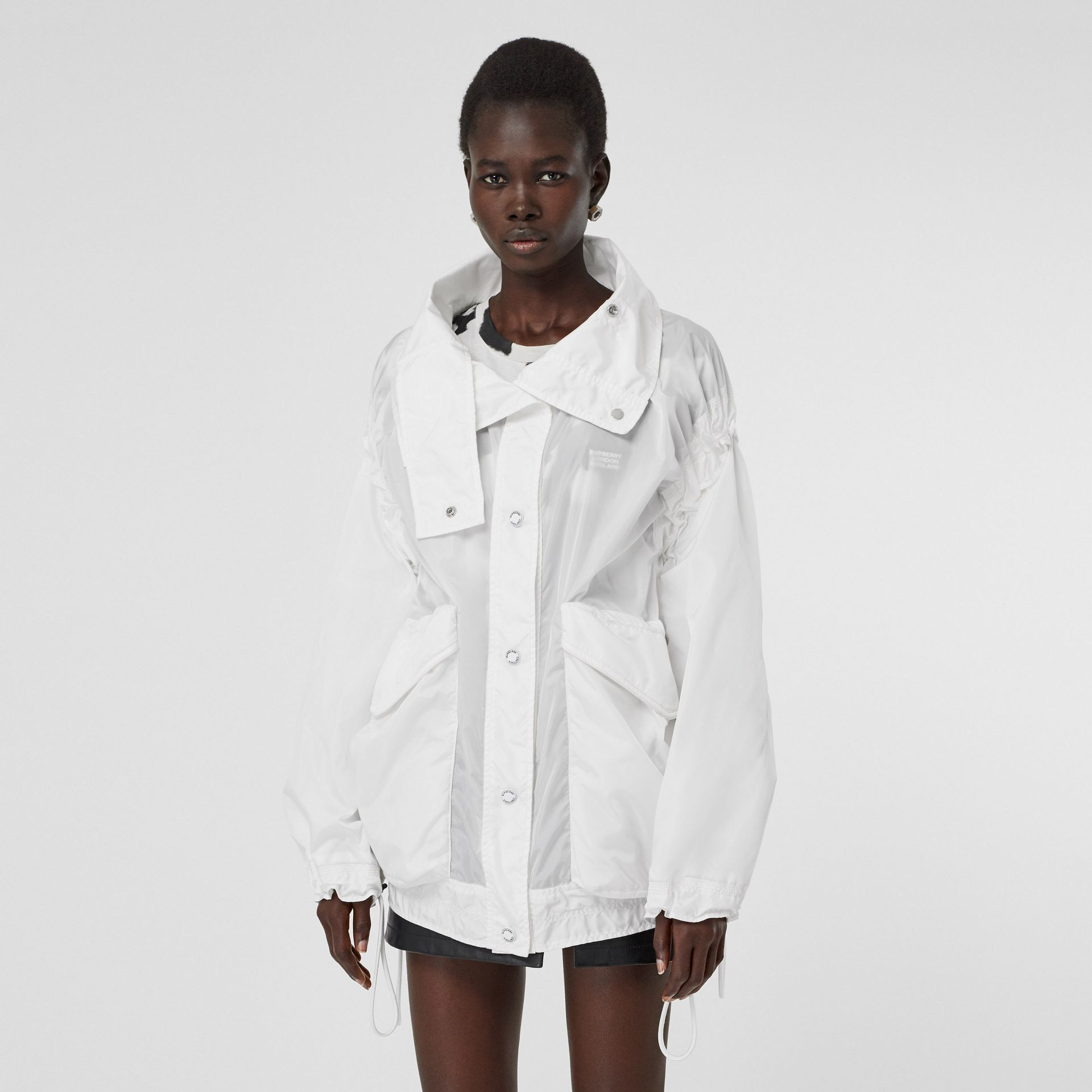 Drawcord Detail Logo Print Lightweight Jacket in White - Women | Burberry - gallery image 6