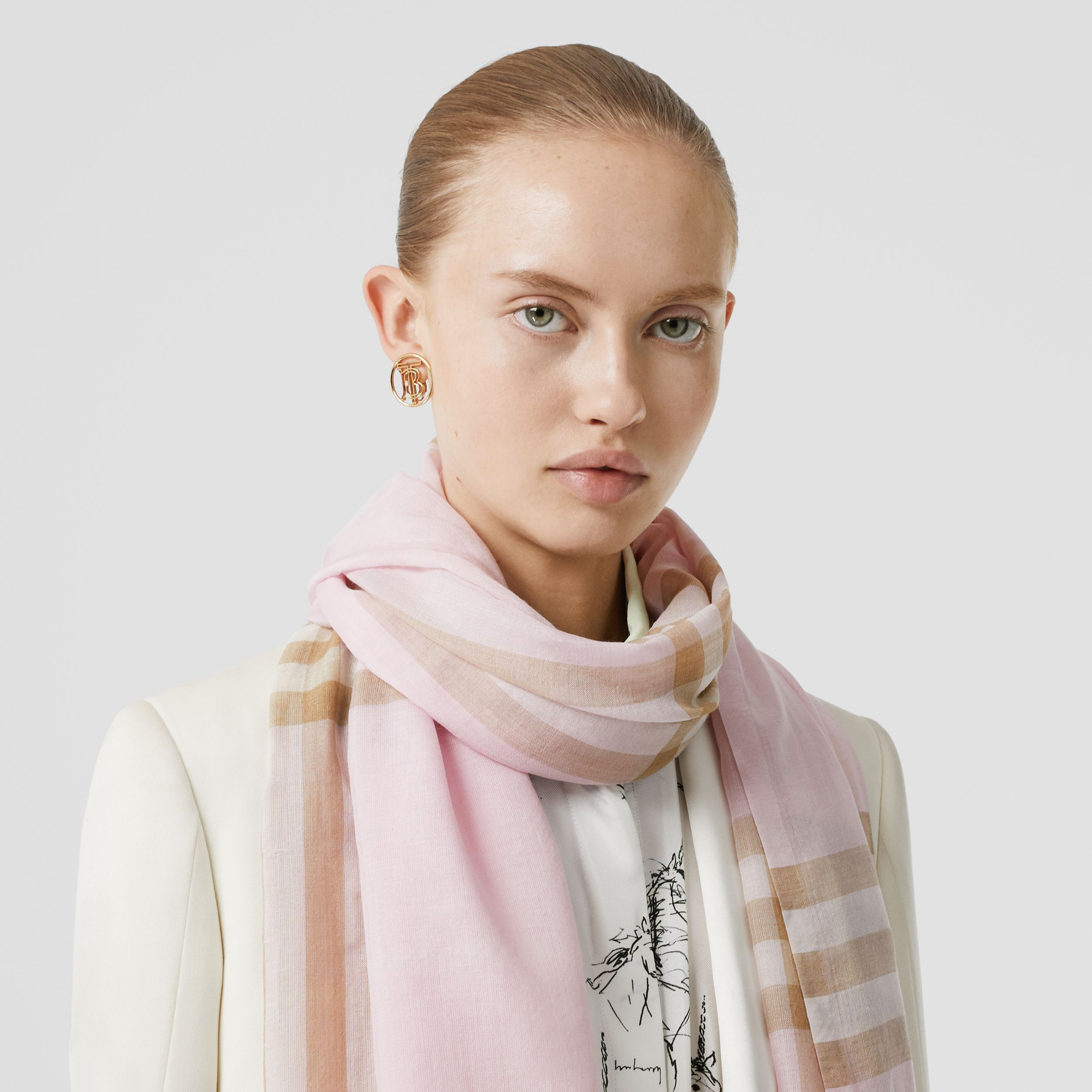 Lightweight Check Wool Silk Scarf in Alabaster | Burberry - 3