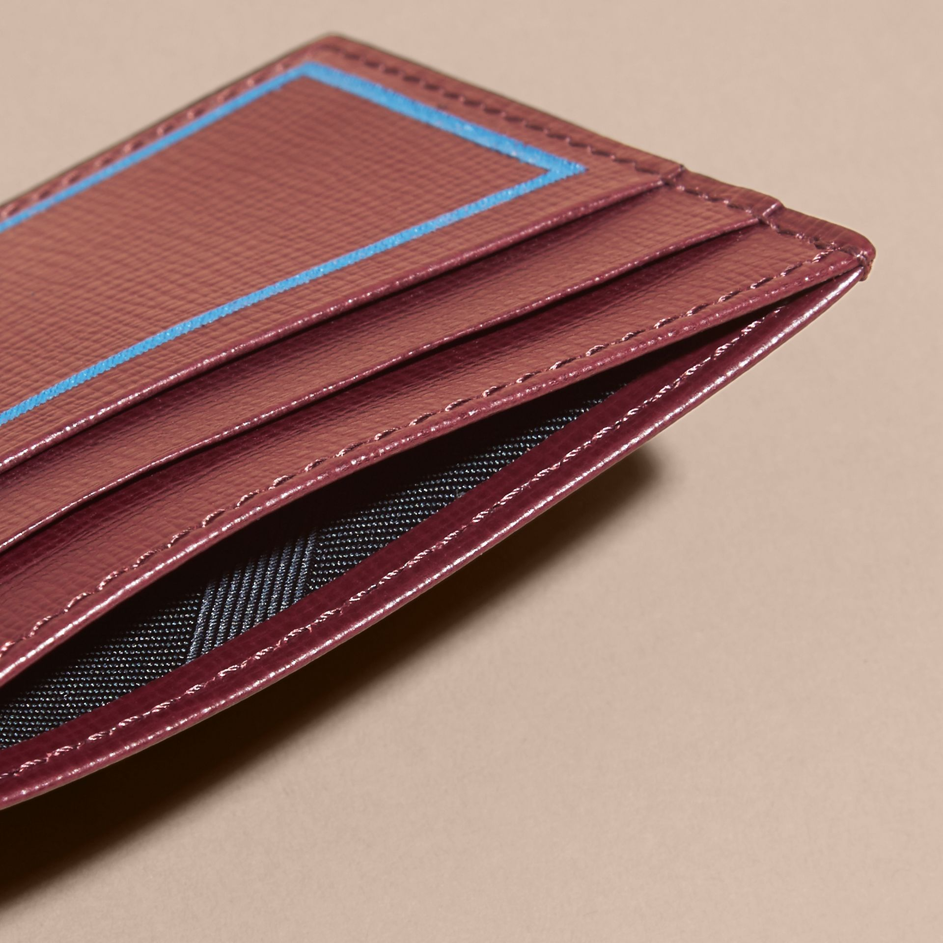 Border Detail London Leather Card Case Burgundy Red - gallery image 5