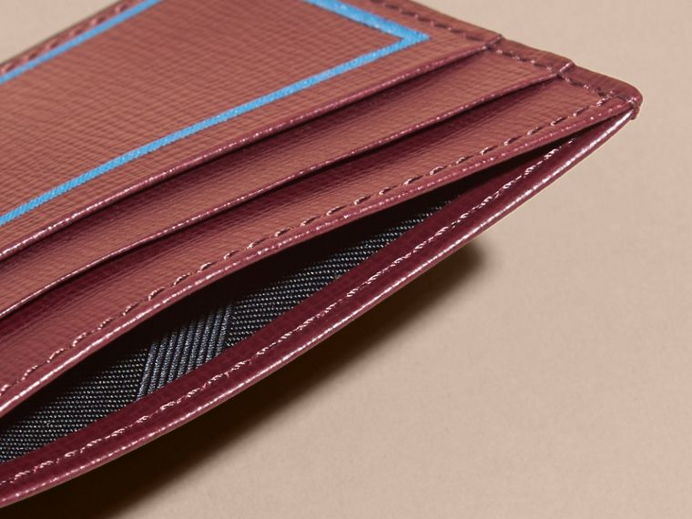 Border Detail London Leather Card Case in Burgundy Red - cell image 4