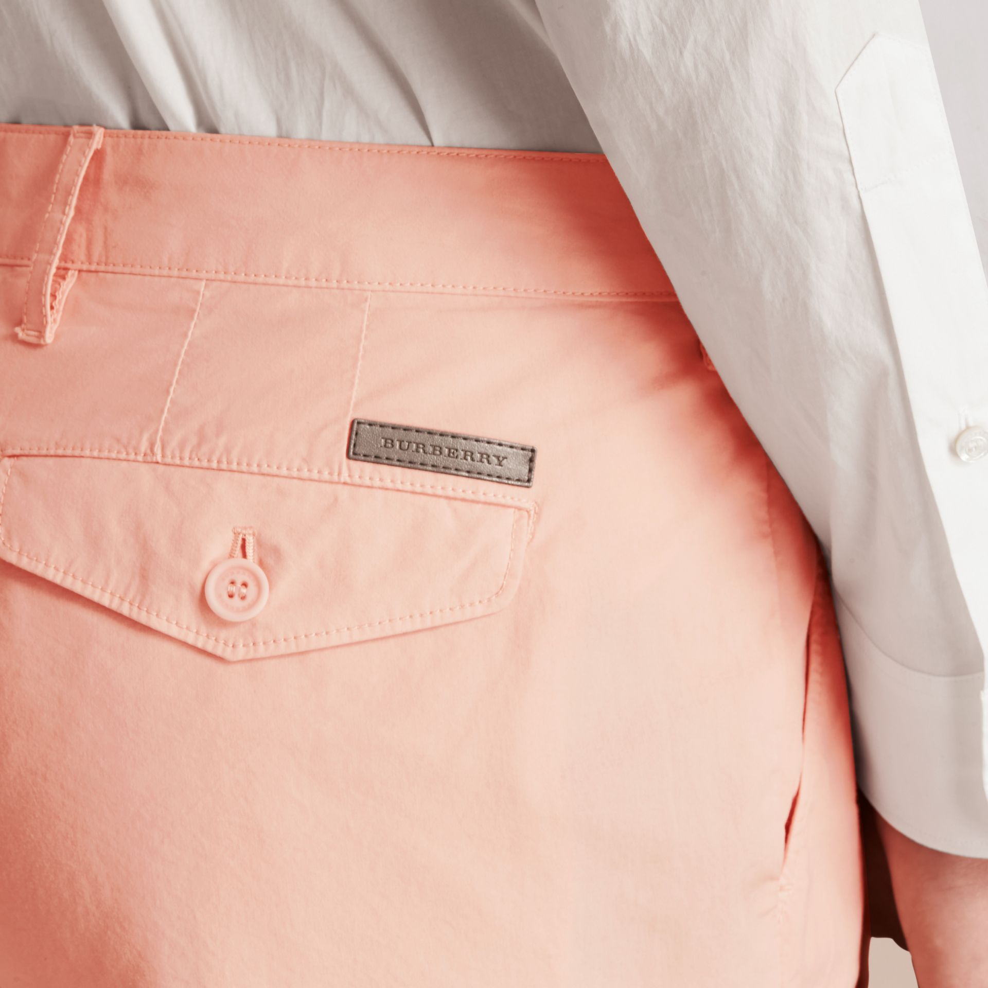 Slim Fit Cotton Poplin Chinos Apricot Pink - gallery image 6