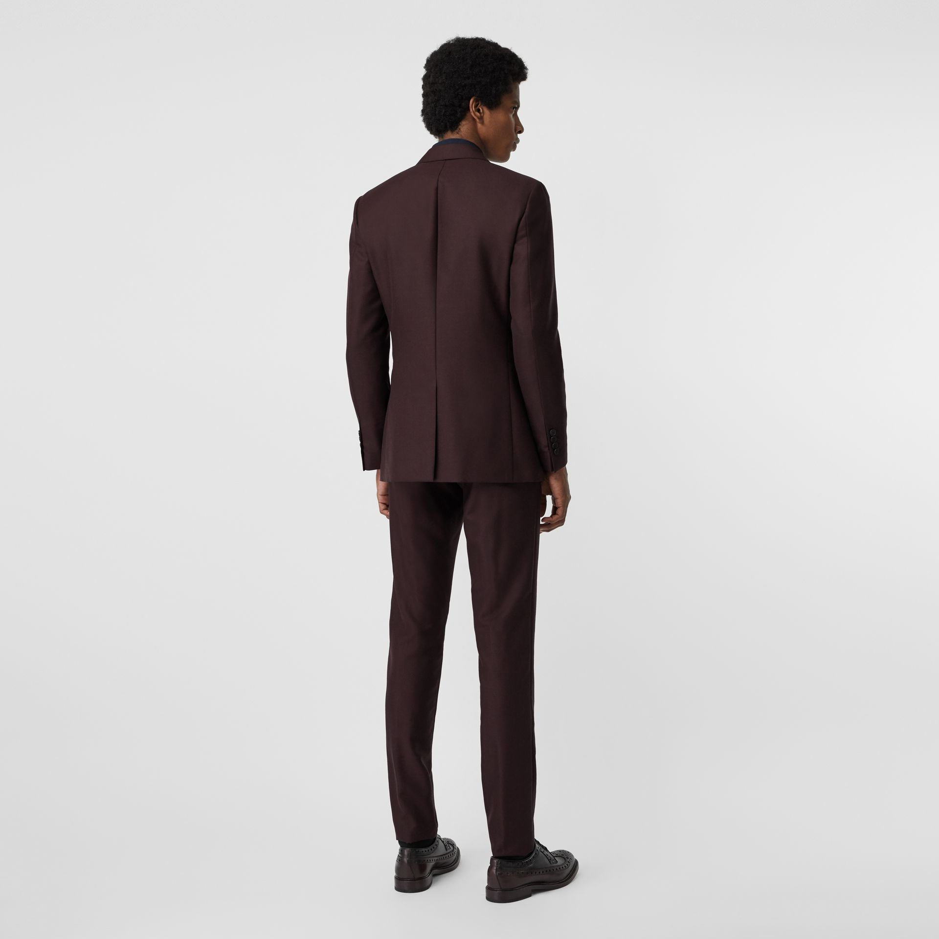 Slim Fit Wool Mohair Silk Suit in Burgundy - Men | Burberry - gallery image 2