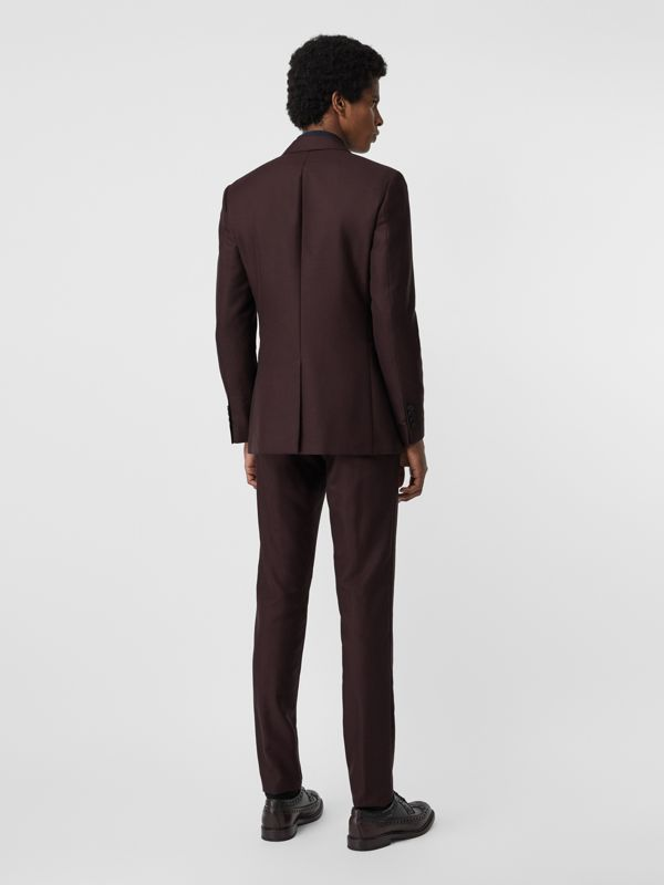Slim Fit Wool Mohair Silk Suit in Burgundy - Men | Burberry - cell image 2