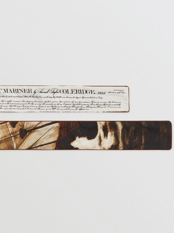 Mariner Print Silk Skinny Scarf in Brown | Burberry United States - cell image 1