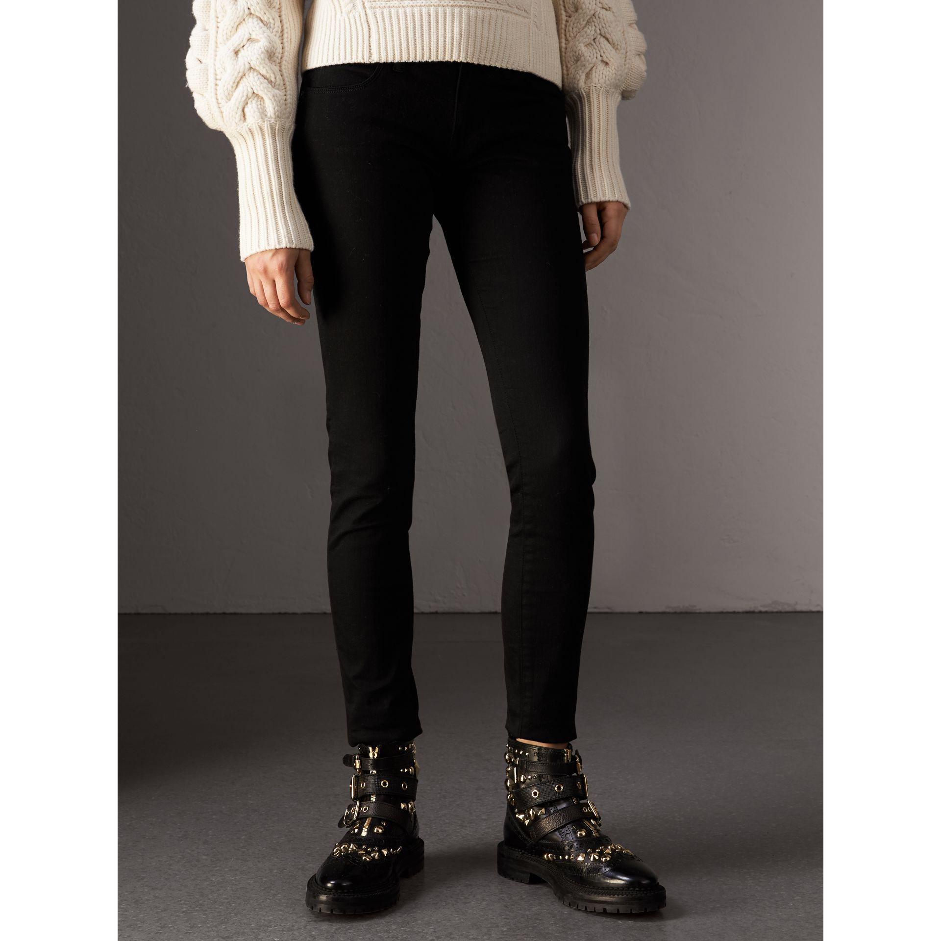 Skinny Fit Low-Rise Deep Black Jeans - Women | Burberry - gallery image 4