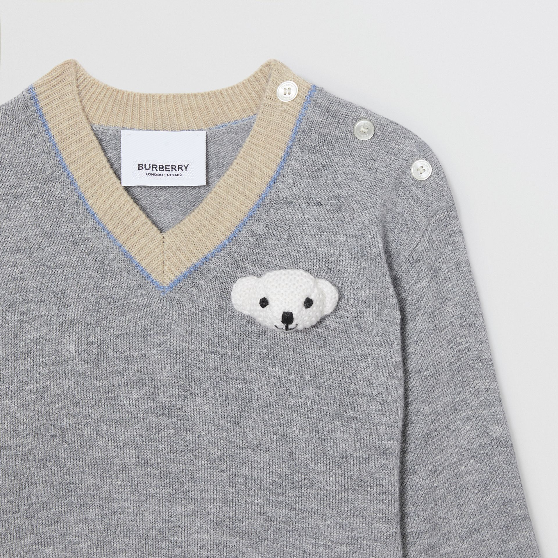 Thomas Bear Detail Wool Cashmere Sweater in Grey Melange - Children | Burberry - gallery image 5