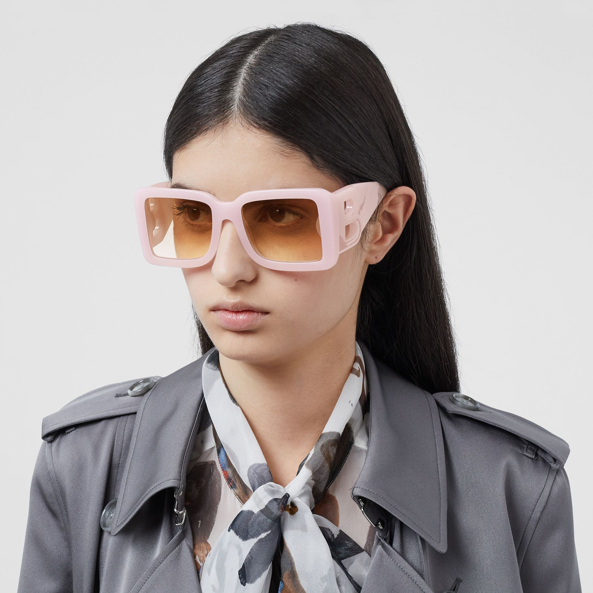 B Motif Square Frame Sunglasses in Lilac - Women | Burberry Australia - gallery image 2