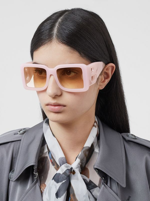 B Motif Square Frame Sunglasses in Lilac - Women | Burberry Australia - cell image 2