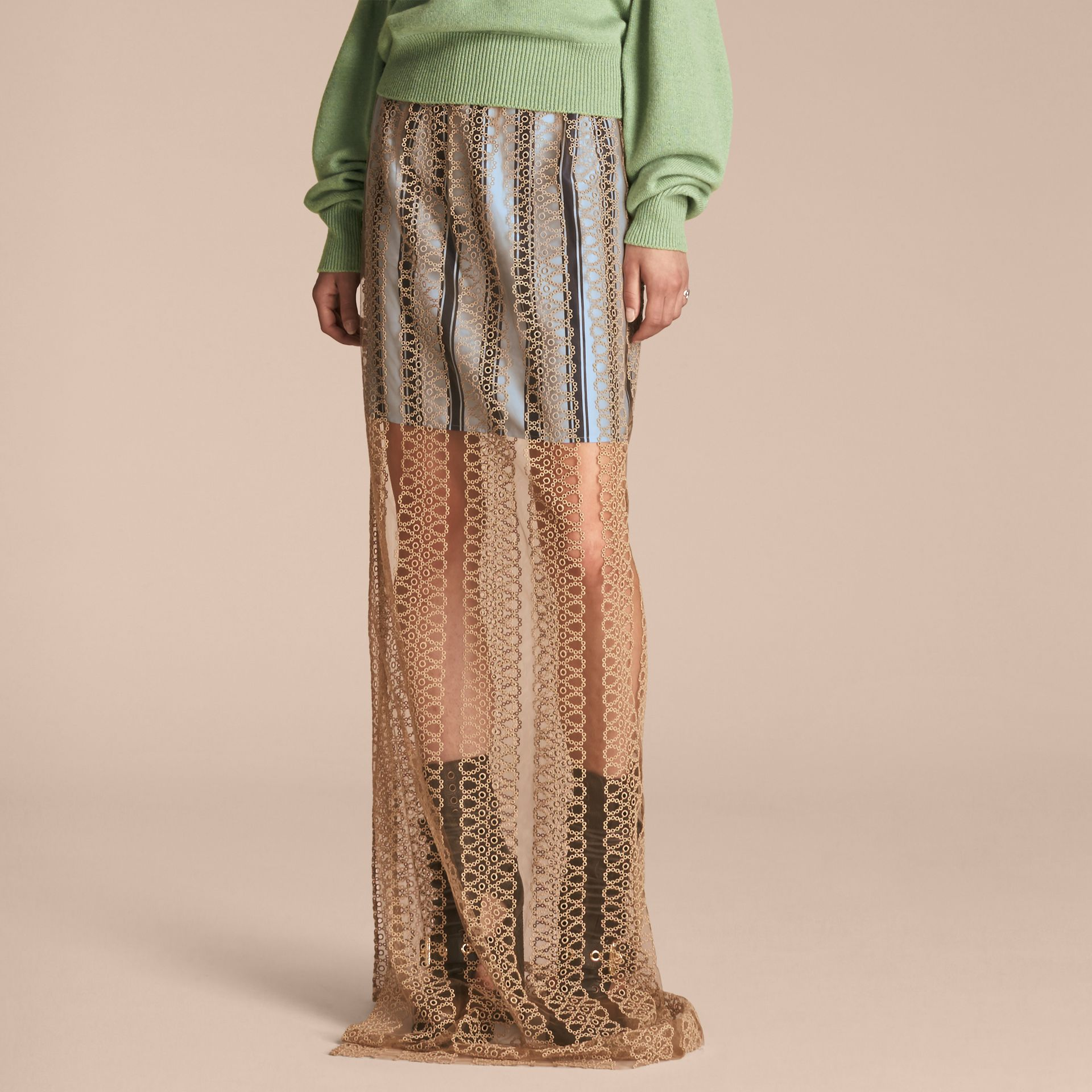 Braided Tulle Column Skirt with Striped Lining in Bright Toffee - gallery image 1