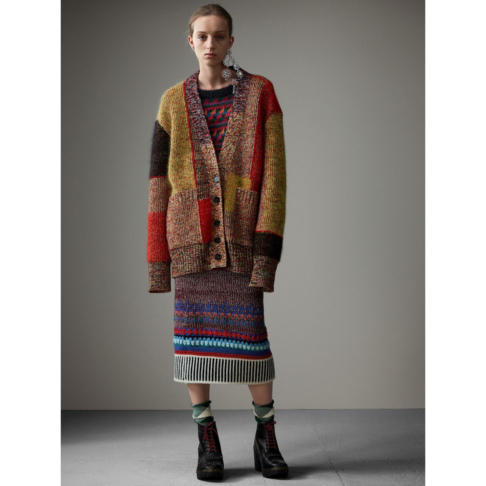 Wool Linen Mohair Blend Mouliné Oversized Cardigan in Multicolour - Women | Burberry Hong Kong - gallery image 7
