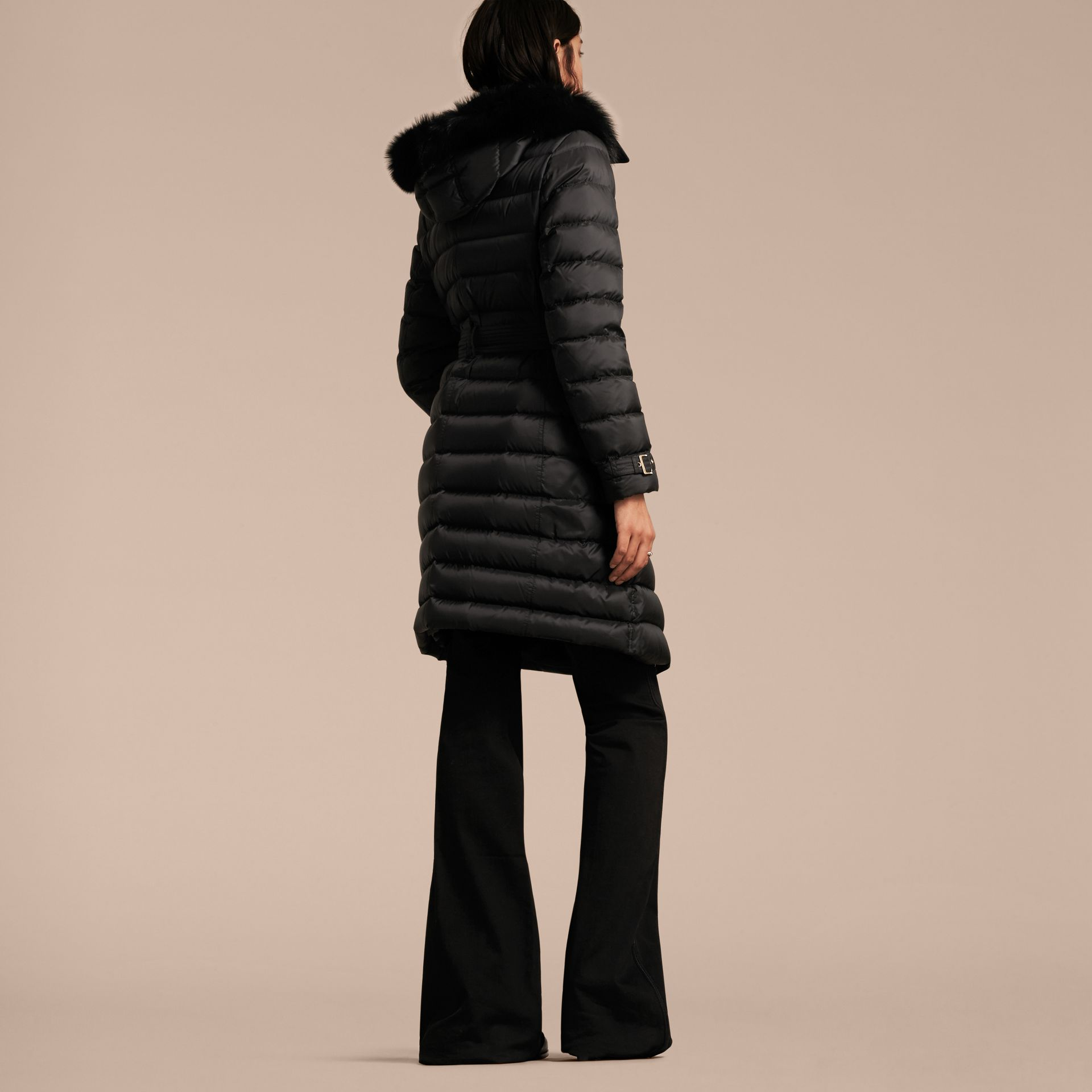 Down-filled Coat with Fox Fur Trim Hood in Black - Women | Burberry - gallery image 3