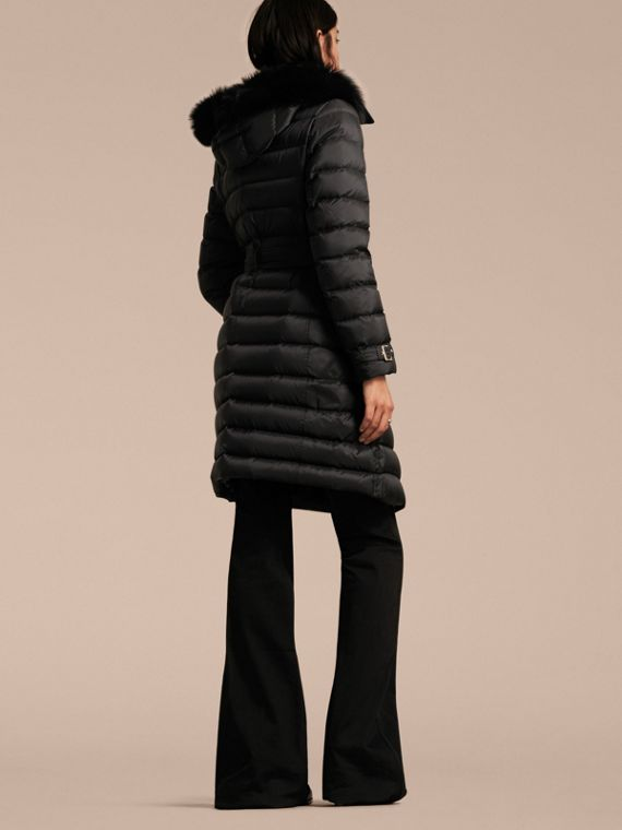 Down-filled Coat with Fox Fur Trim Hood in Black - Women | Burberry - cell image 2