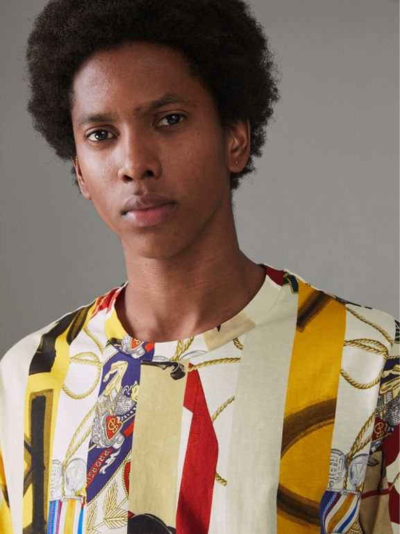 Striped Archive Scarf Print Cotton T-shirt in Stone - Men | Burberry Singapore - cell image 1