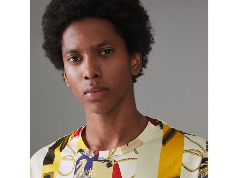 Striped Archive Scarf Print Cotton T-shirt in Stone - Men | Burberry United Kingdom - cell image 1