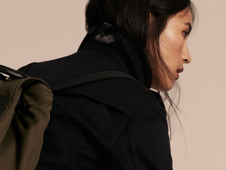 Wool Cashmere Trench Coat with Fur Collar in Black - Women | Burberry Australia - cell image 4