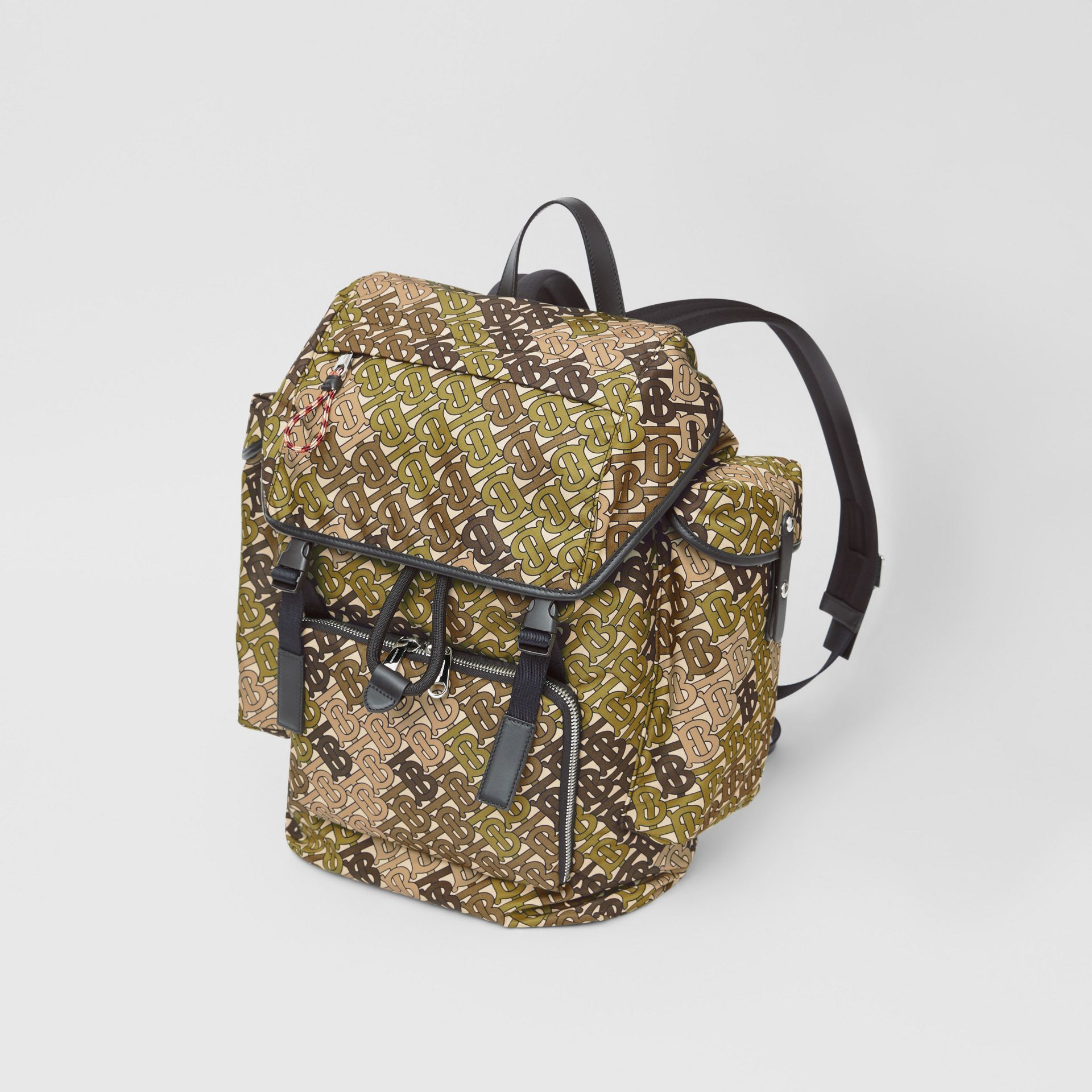 Medium Monogram Print Nylon Backpack in Khaki Green - Men | Burberry - gallery image 2