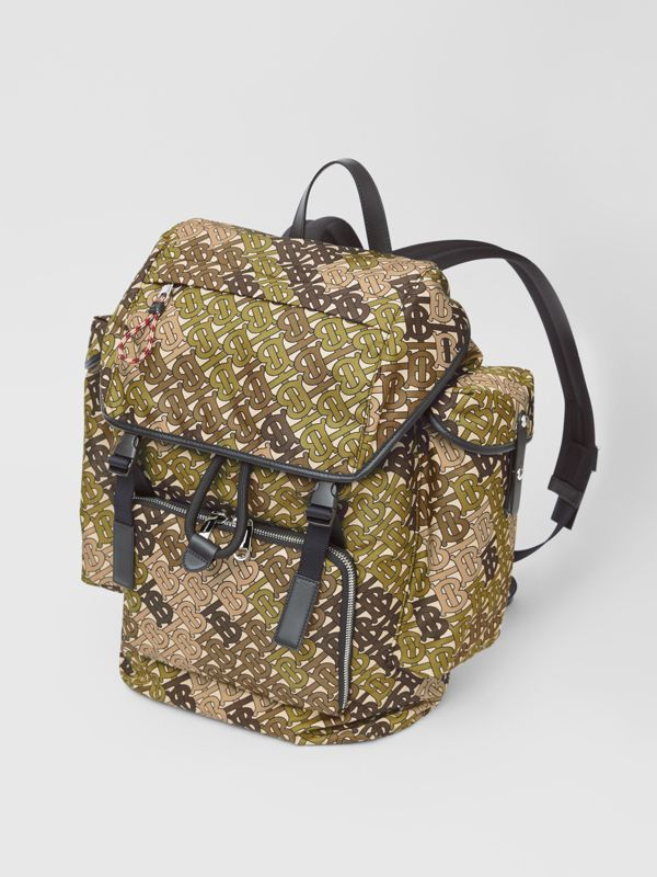 Medium Monogram Print Nylon Backpack in Khaki Green - Men | Burberry Canada - cell image 3
