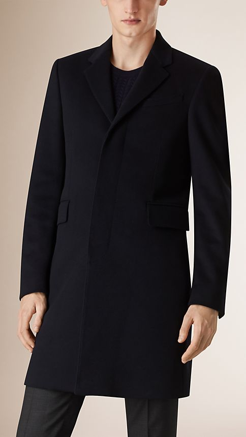 Navy Wool Cashmere Topcoat Navy - Image 2
