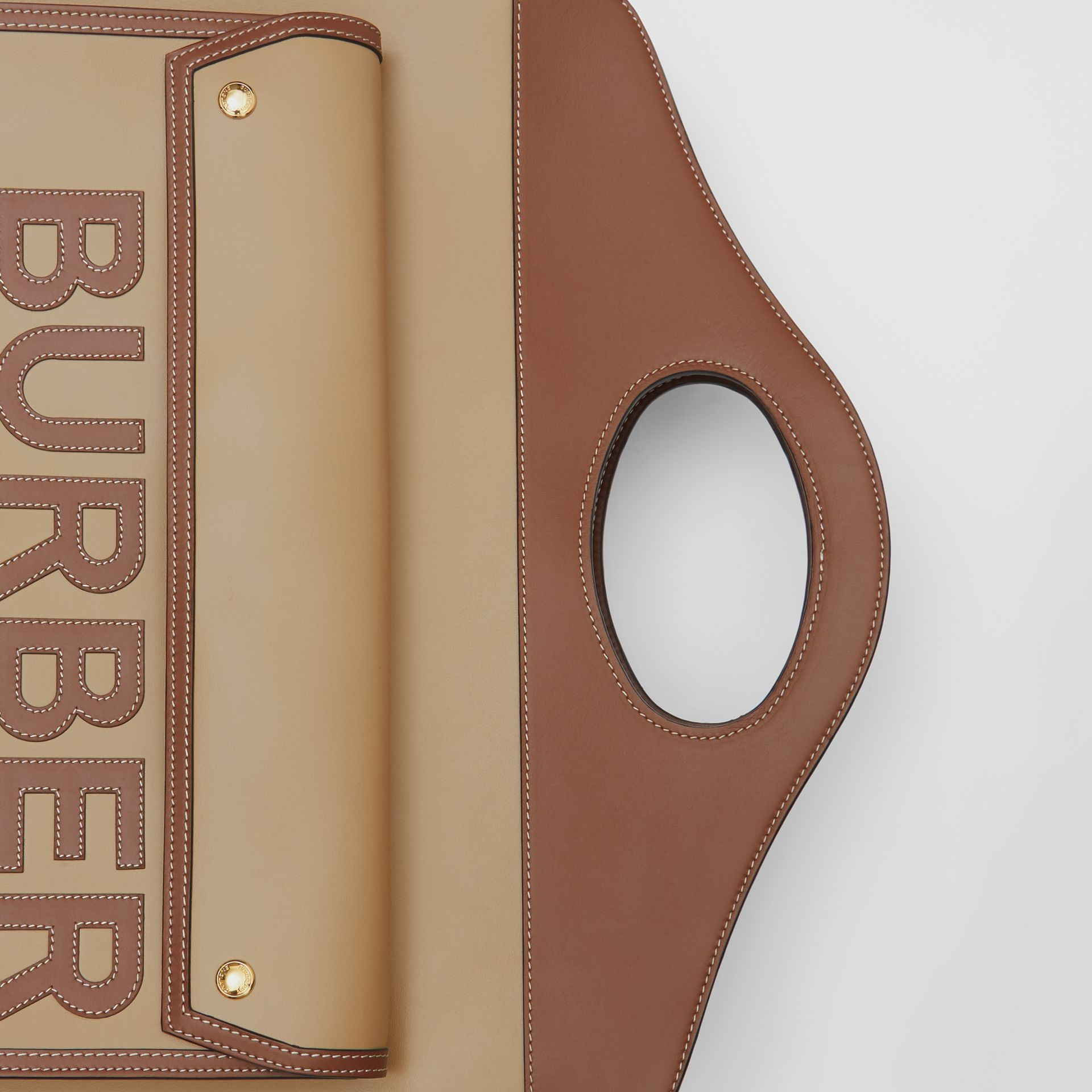 Extra Large Horseferry Appliqué Leather Pocket Bag in Honey - Women | Burberry United States - gallery image 1